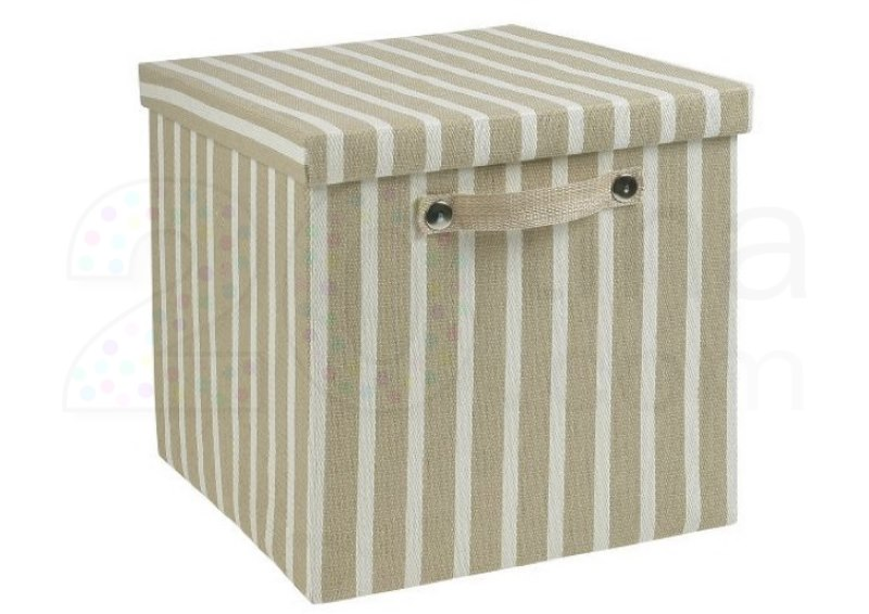 boite de rangement carr e tiss e cappuccino et blanc existe en 3 tailles bo036 coffres. Black Bedroom Furniture Sets. Home Design Ideas