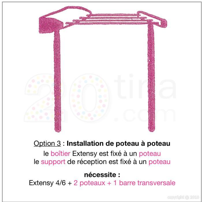 poteau pour tendoir r tractable slimy et extensy ex012 coffres pinces linge tendoirs. Black Bedroom Furniture Sets. Home Design Ideas