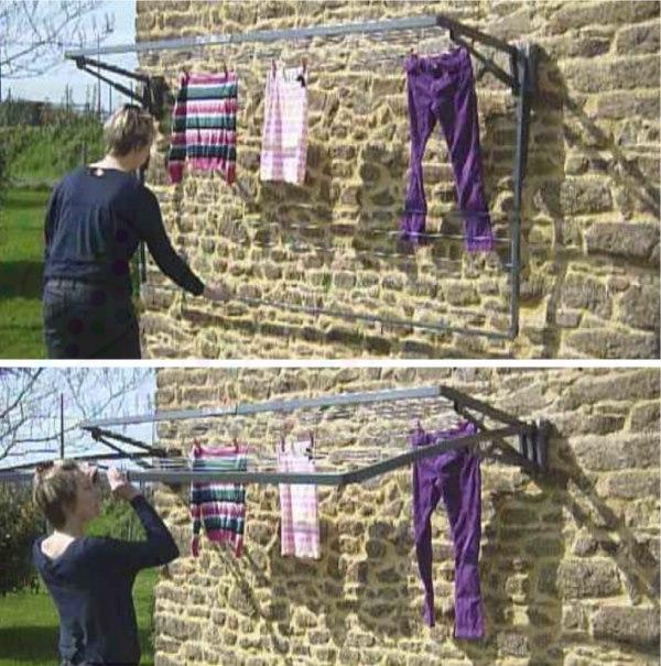 Fabriquer etendoir a linge exterieur mural for Seche linge exterieur parapluie