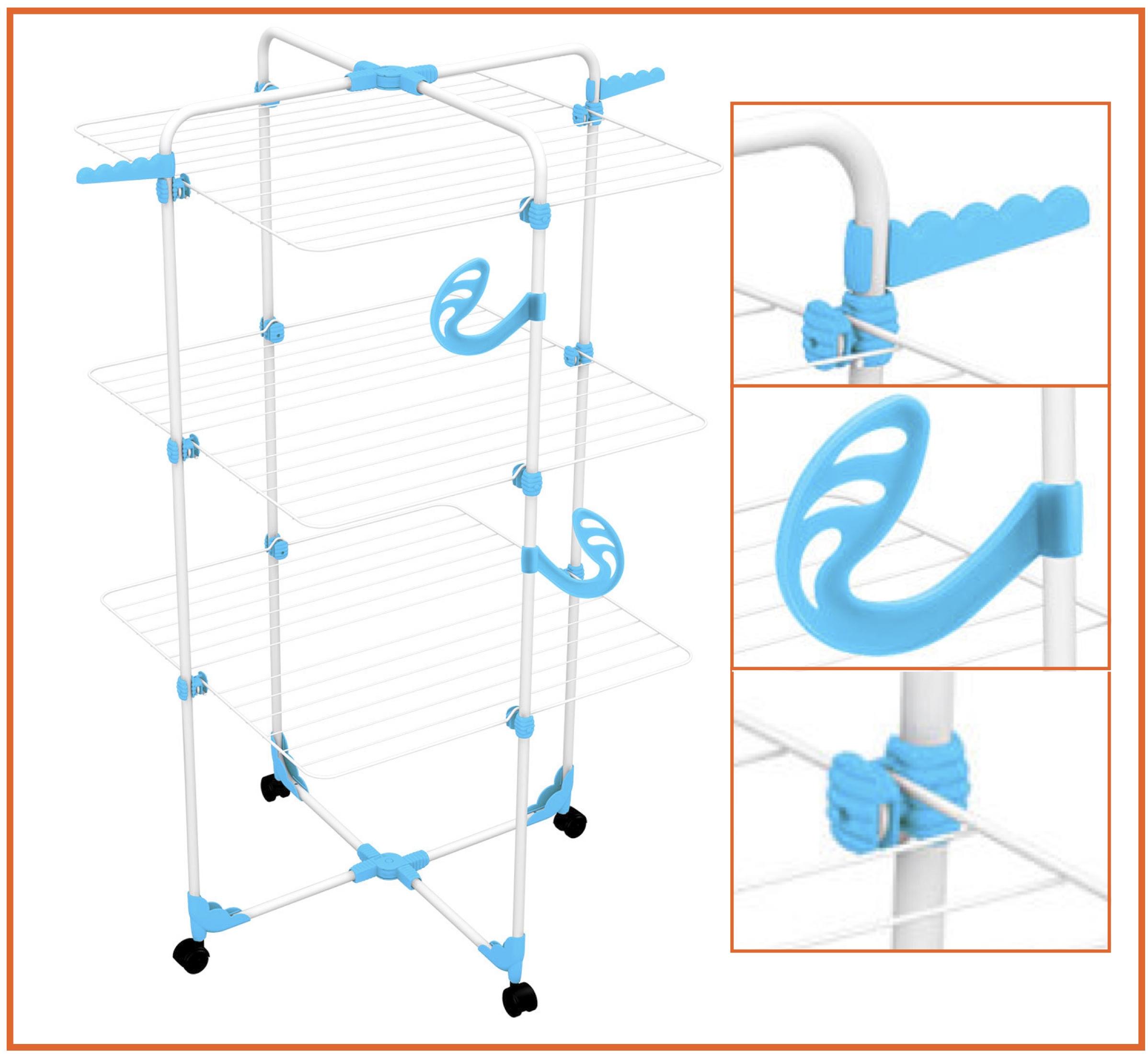 sechoir tour 3 étages bleu ou orange