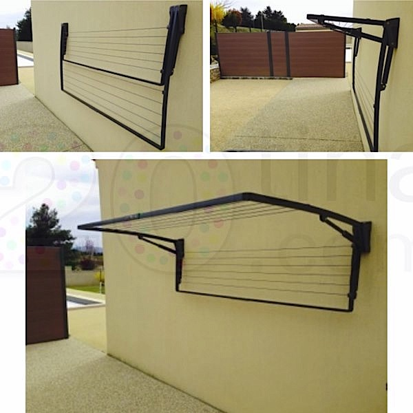 Etendoir mural exterieur repliable - Etendoir a linge mural retractable ...